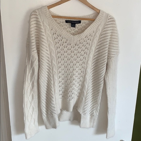 French Connection angora sweater in cream, small.
